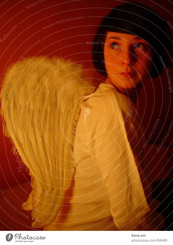 unschuldig Mädchen Wolken schön verträumt Frau Engel sanft fliegen Wärme