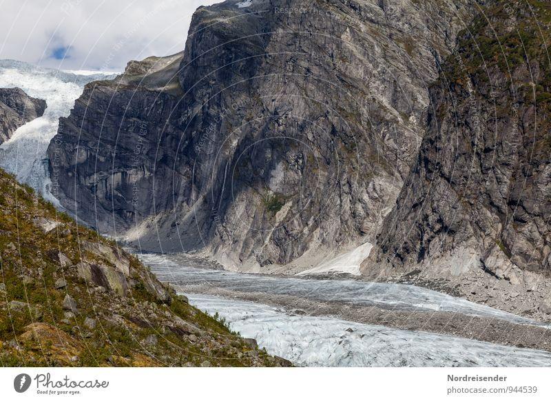 Austerdalsbreen Ferien & Urlaub & Reisen Abenteuer Ferne Berge u. Gebirge wandern Natur Landschaft Urelemente Klima Klimawandel Felsen Gletscher kalt bizarr