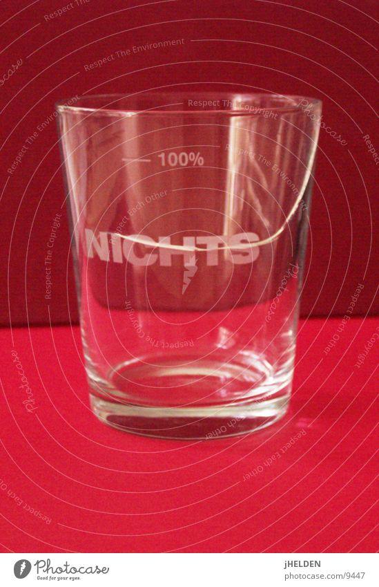 100% NICHTS rot Glas leer kaputt Typographie gebrochen Risiko Desaster Text verlieren Insolvenz Bruch Missgeschick Symbolismus Wasserglas