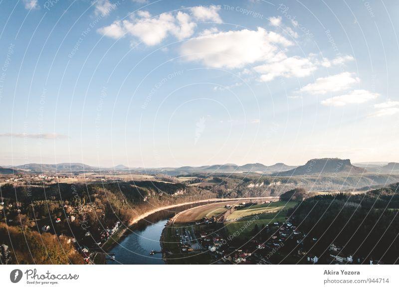 Immer der Elbe entlang Himmel Natur Ferien & Urlaub & Reisen blau grün weiß Erholung Landschaft ruhig Wolken schwarz Berge u. Gebirge Frühling natürlich braun