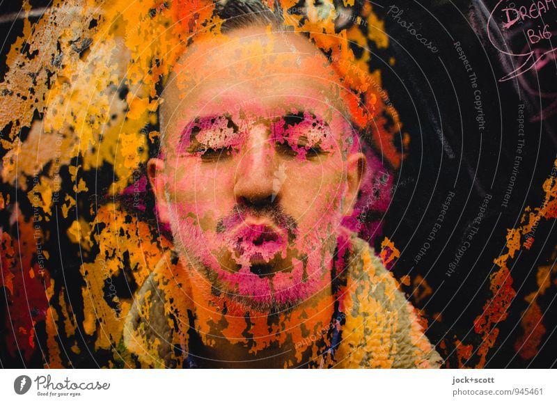 der Liebesfilm Design exotisch Sinnesorgane Homosexualität Mann Erwachsene Partner Gesicht 1 Mensch 30-45 Jahre Straßenkunst Grafik u. Illustration Küssen