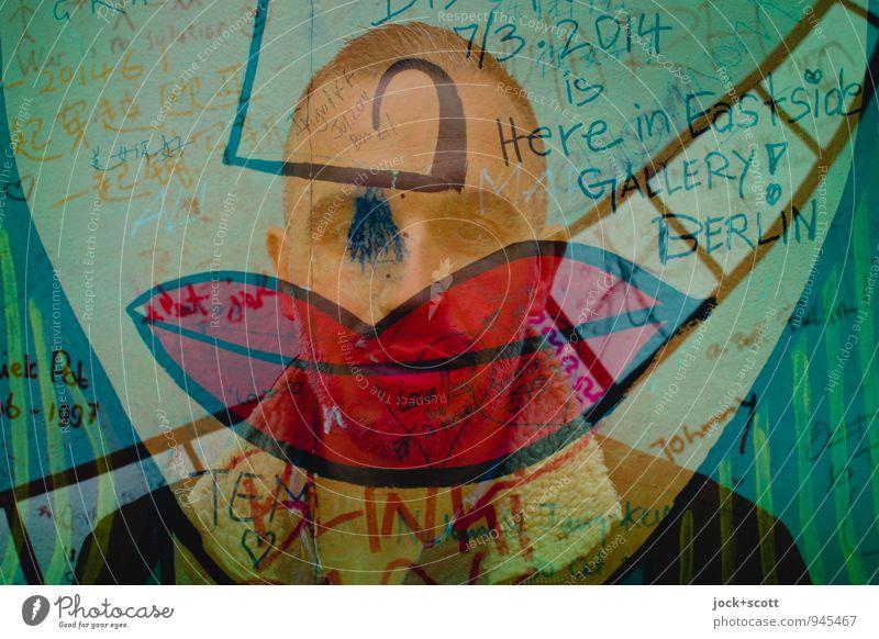 extra rote Lippen Freude Homosexualität Mann Erwachsene Partner 1 Mensch 30-45 Jahre Straßenkunst Pop-Art Berliner Mauer kurzhaarig Wort Küssen Glück nerdig