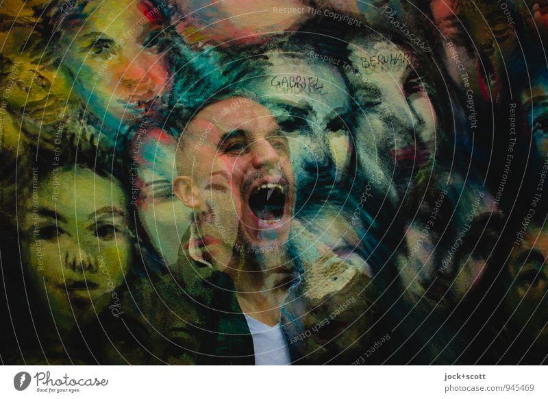 der Aufschrei Gesicht 1 Mensch 30-45 Jahre Erwachsene Straßenkunst Berliner Mauer träumen außergewöhnlich fantastisch gruselig Gefühle Stimmung Angst Entsetzen