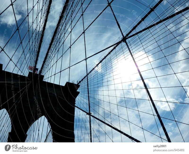 gute Verbindung Architektur außergewöhnlich Ordnung Kraft Seil Brücke einzigartig Kultur Sicherheit Netzwerk festhalten USA Bauwerk Verkehrswege Verbindung Stahl