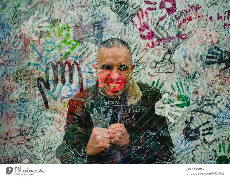 durchboxen, linker Haken Boxsport Mann Erwachsene Hand Menschenmenge 30-45 Jahre Straßenkunst Berliner Mauer Jacke kurzhaarig Umrisslinie kämpfen Coolness