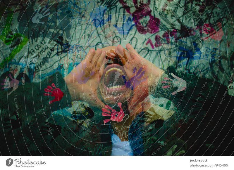der neueste Schrei Mann Erwachsene Mund Zähne 1 Mensch 30-45 Jahre Straßenkunst Pop-Art schlechtes Wetter Berliner Mauer Ziffern & Zahlen außergewöhnlich