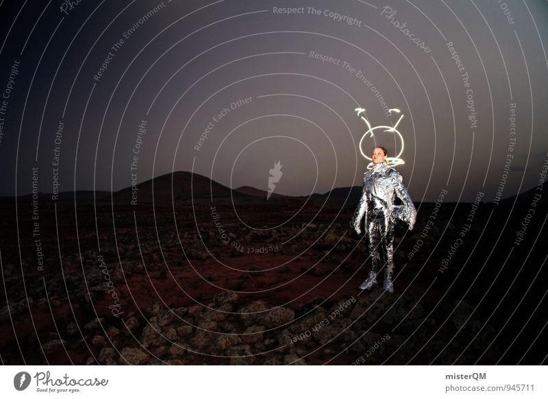 Lil' Gazoo Kunst Kunstwerk ästhetisch Außerirdischer Mond Mondlandschaft Mars Marslandschaft Marsianer Helm Kreativität Frau Evolution Raumanzug Karneval Kostüm