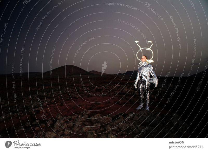 Lil' Gazoo Mensch Frau Himmel (Jenseits) Kunst außergewöhnlich ästhetisch Kreativität Idee Vergangenheit Weltall Futurismus Fernweh Karneval Mond silber Kostüm