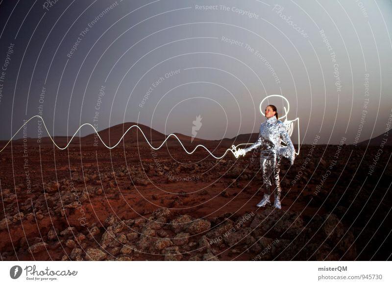 Wir kommen in Frieden. Kunst Kunstwerk ästhetisch Raumanzug Astronaut Außerirdischer Laser Laserpointer Angriff angriffslustig Aggression Krieg Krieger