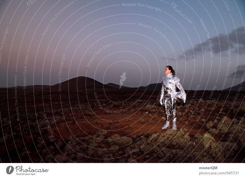 stand alone. Mensch Frau Ferien & Urlaub & Reisen Einsamkeit Reisefotografie außergewöhnlich Kunst Uhr ästhetisch historisch Weltall Futurismus Rauch Fernweh