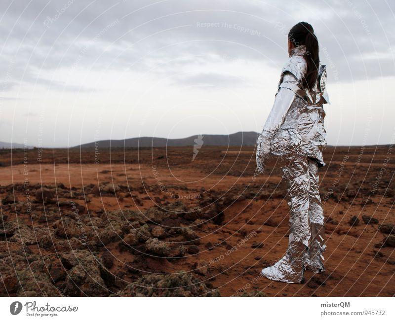 Future comes. Frau Einsamkeit Landschaft Kunst Erfolg ästhetisch Zukunft Weltall Fernweh Futurismus Kunstwerk Außerirdischer Astronaut Mars Raumfahrt Marslandschaft