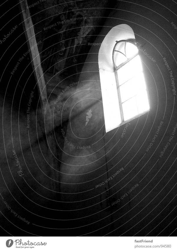 Heiligenschein weiß schwarz Fenster hell Religion & Glaube Kunst Glas offen Kultur heilig Gott Götter Bogen Gotteshäuser Lichtstrahl