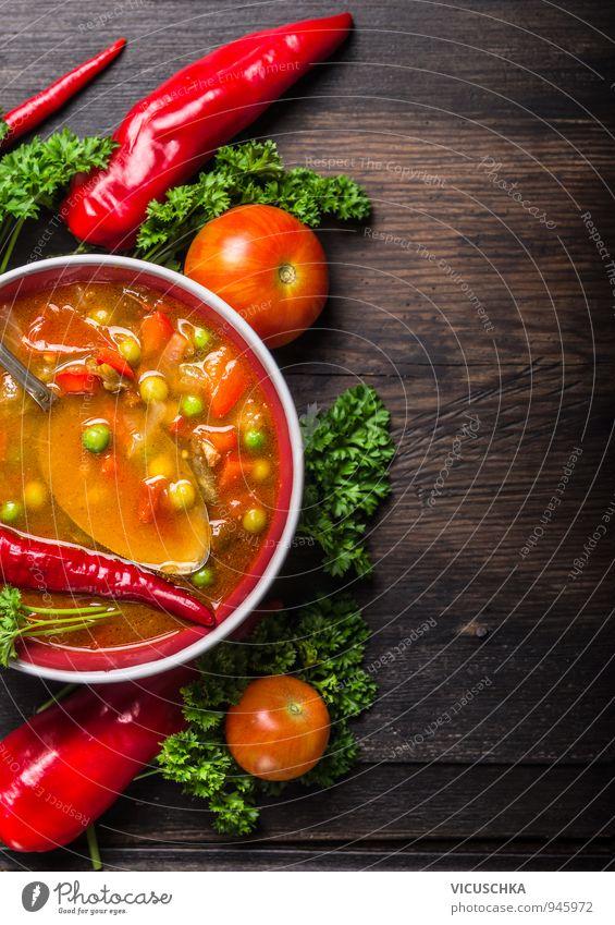 Minestrone Suppe auf dunklem altem Tisch grün Sommer rot Winter schwarz Gesunde Ernährung gelb Leben Hintergrundbild Garten braun Lebensmittel Lifestyle