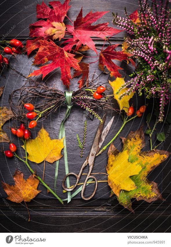 Herbst Dekoration basteln Natur Pflanze grün rot Blatt Haus gelb Herbst Stil Garten orange Freizeit & Hobby Dekoration & Verzierung Design gold Tisch