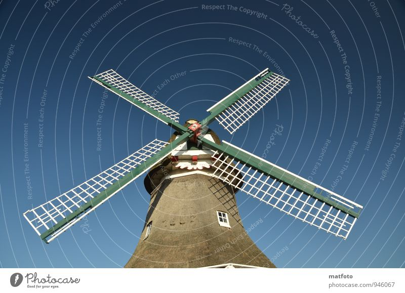 Windmühle auf Norderney II Museum Nordsee Deutschland Menschenleer Bauwerk Windmühlenflügel Flügel Sehenswürdigkeit Denkmal Holz drehen groß historisch blau