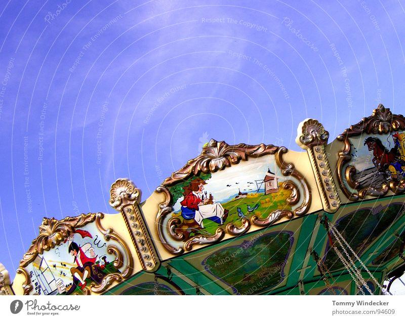 Nostalgie Mensch Himmel blau Ferien & Urlaub & Reisen Sommer Freude Wolken Farbe Bewegung Musik Feste & Feiern Kindheit Freizeit & Hobby rund Vergangenheit