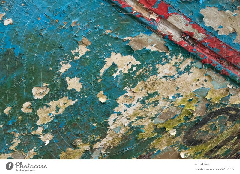 Patina à la Bretagne alt blau Farbe rot Farbstoff Hintergrundbild Vergänglichkeit fallen verfallen Schifffahrt abblättern Oxidation Fischerboot Schiffsbug
