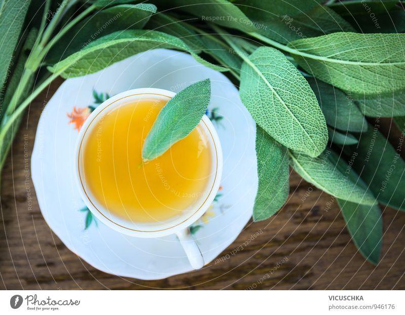Tasse mit Salbeitee and Blätter Erholung ruhig Gesunde Ernährung Wärme Leben Stil Gesundheit Garten Stimmung Lifestyle Freizeit & Hobby Kraft Design Getränk