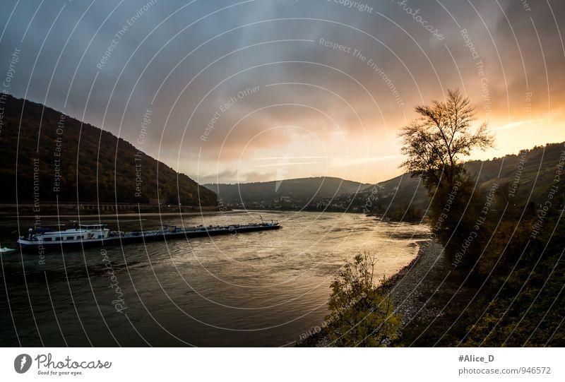 Das Mittelrheintal bei Oberwesel Ferien & Urlaub & Reisen Tourismus Ausflug Kultur Natur Landschaft Wasser Himmel Wolken Gewitterwolken Sonnenaufgang