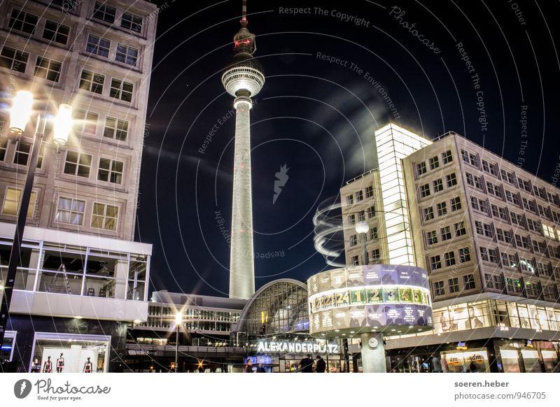 Berlin Alexanderplatz Hauptstadt Stadtzentrum bevölkert Haus Hochhaus Turm Bauwerk Architektur Sehenswürdigkeit Wahrzeichen Schienenverkehr Sinnesorgane
