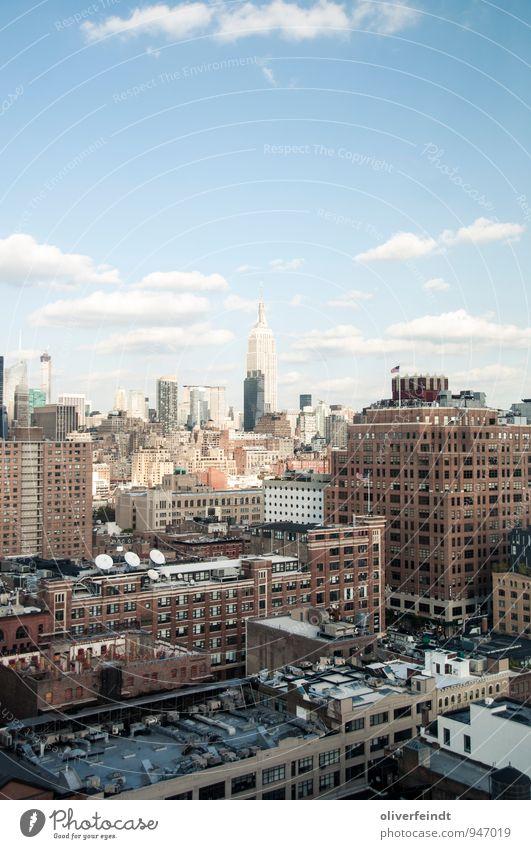 Empire State Ferien & Urlaub & Reisen Tourismus Ausflug Abenteuer Ferne Freiheit Sightseeing Städtereise Himmel Wolken Schönes Wetter New York City Stadt