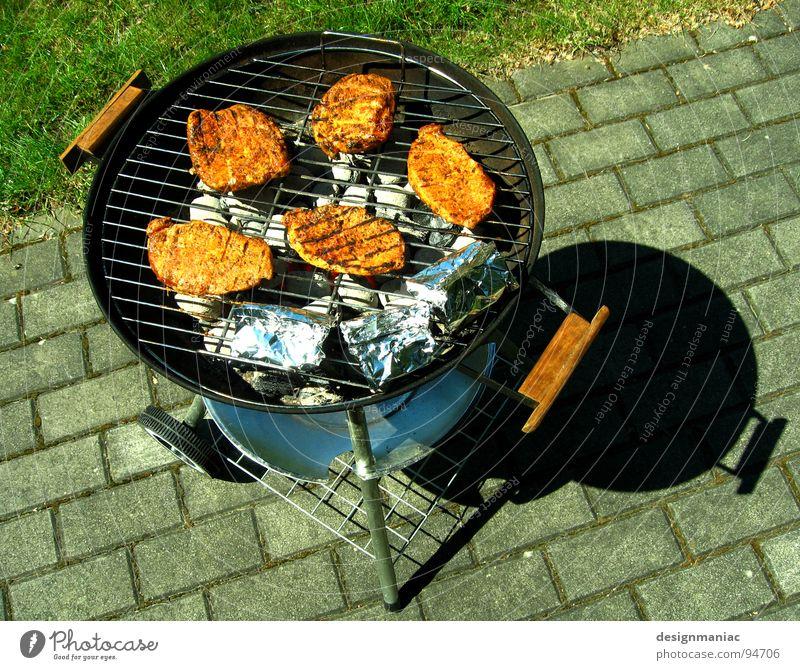 5 Freunde beim Sonnenbaden Fleisch Grillen Physik heiß Aluminium Metallfolie grün grau schwarz braun Gitter verpackt lecker Steak 3 Vogelperspektive Chrom