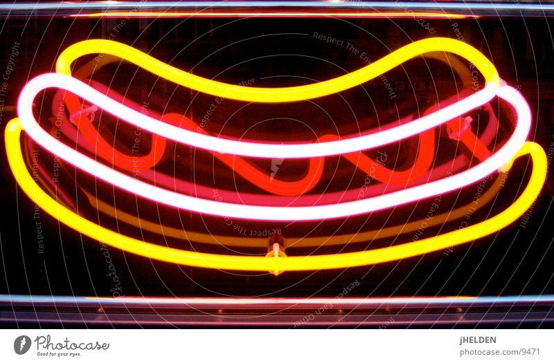 german neon wurst Wurstwaren Ernährung Fastfood Schilder & Markierungen Werbung Neonlicht Curry Currywurst Cheeseburger Würstchen Emotiondesign aussenwerbung