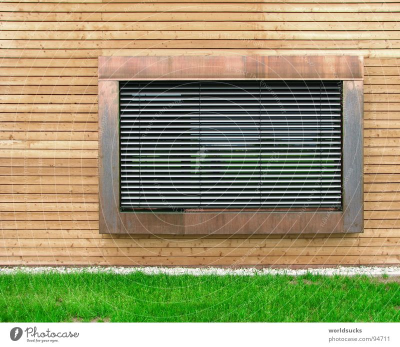 Fensterblick Natur grün Haus Arbeit & Erwerbstätigkeit Wiese Holz grau Stein Gebäude hell Zusammensein Metall Deutschland Glas