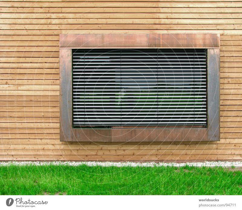 Fensterblick Natur grün Haus Arbeit & Erwerbstätigkeit Wiese Fenster Holz grau Stein Gebäude hell Zusammensein Metall Deutschland Glas