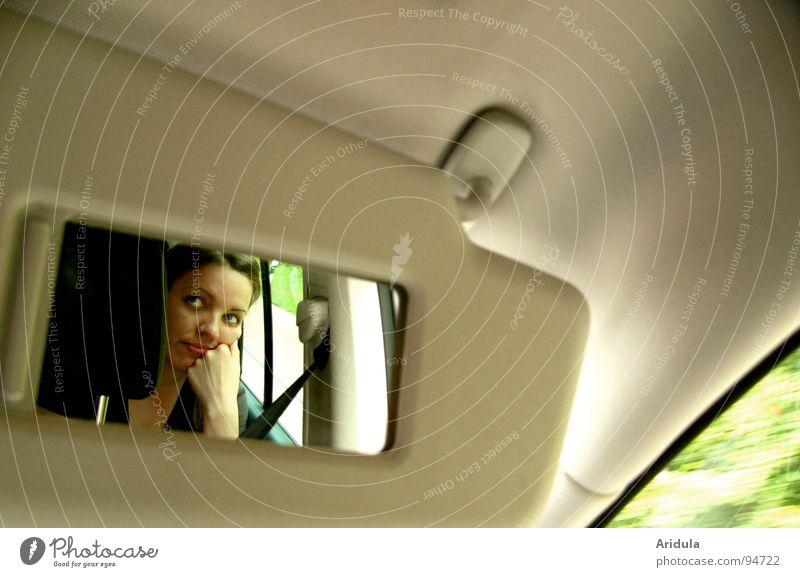 ... drive my car fahren Spiegel Hand schmollen Langeweile beleidigt Fenster Autobahn beige grün Frau PKW Gesicht Ferien & Urlaub & Reisen beobachten warten