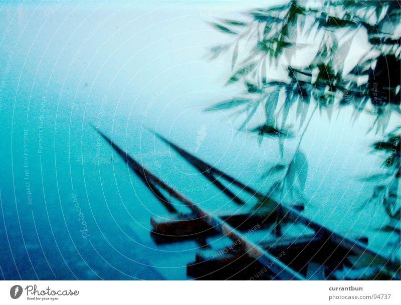 Wassergleis Dämmerung Natur Küste See Gleise blau Surrealismus DIE_SCHIEEEENEN_ Nachts sind alle Schienen grau marmeladentier