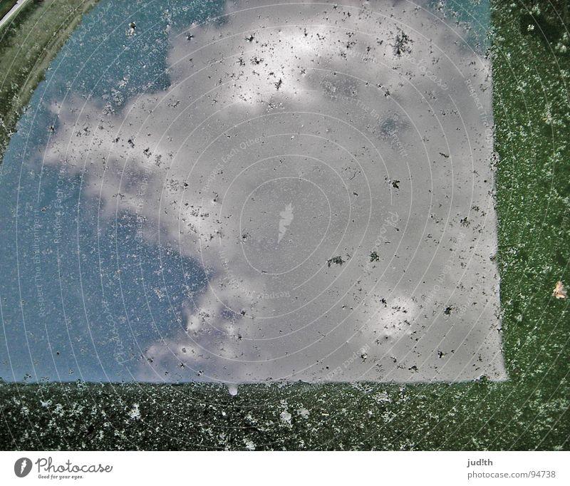 Regentonnenwasserwolke Wolken Spiegel Oberfläche grün weiß Dach Haus Fass Rechteck Pfütze Frankreich Himmel Wasser Sommer Reflektion Glätte blau Schatten Kreis