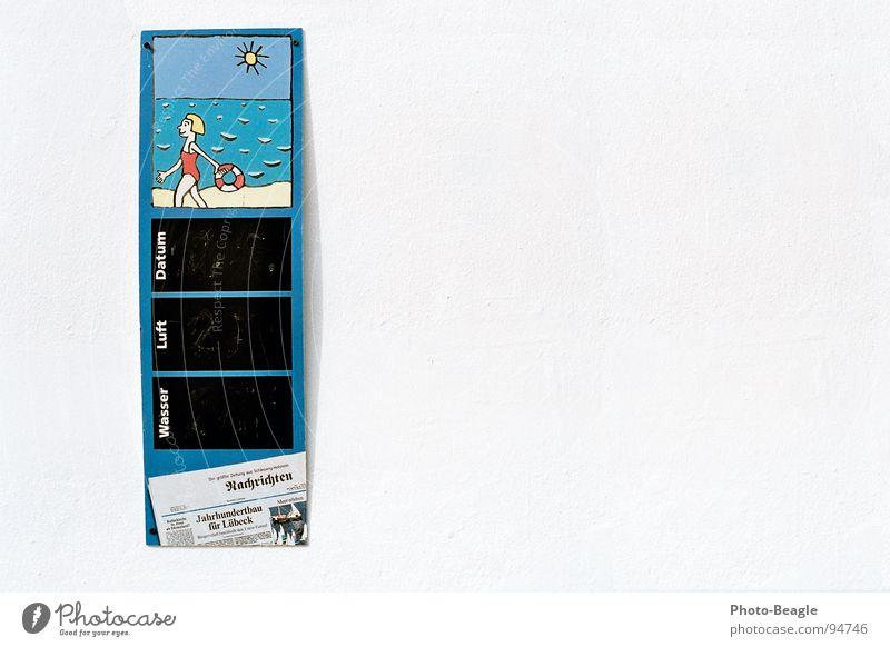 Strandpromenadendetail Luft Lufttemperatur Wassertemperatur Schönes Wetter Badeort Ferien & Urlaub & Reisen Freizeit & Hobby Schwimmen & Baden Grad Celsius