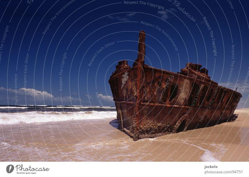 Moheno Australien Fraser Island Wasserfahrzeug Strand Pol- Filter See Schifffahrt Sandinsel Insel Schiffswrack Mehr Himmel blau Paradies jomam