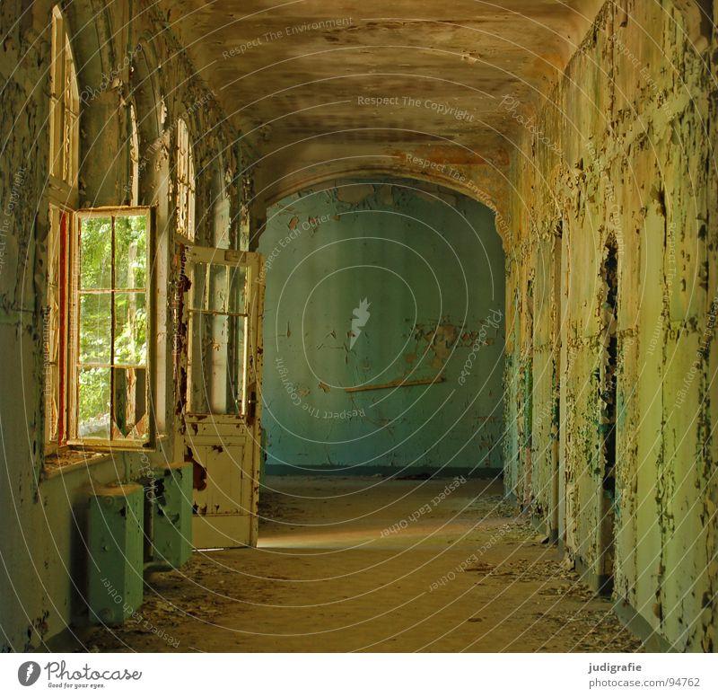 Heilstätte Haus Ruine Gebäude Fenster Tür alt Traurigkeit gruselig kaputt Einsamkeit Angst Farbe Vergänglichkeit Eingang Flur Putz möglich verfallen Sanatorium