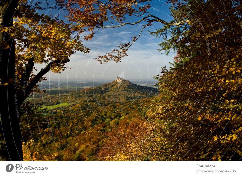Hohenzollern I Ferien & Urlaub & Reisen Tourismus wandern Natur Landschaft Himmel Sonnenlicht Herbst Baum Wald Hügel Deutschland Europa Menschenleer