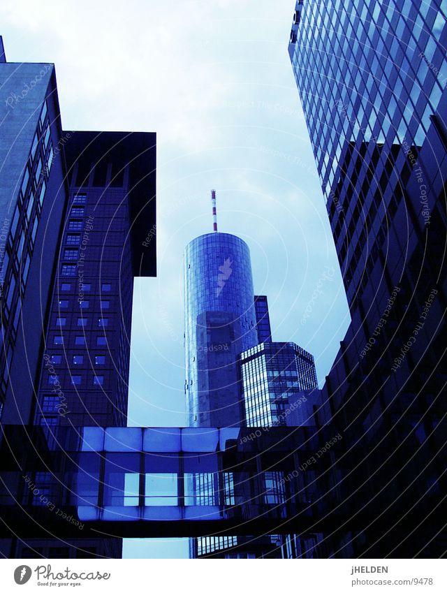 FRA Himmel blau Stadt Stil Glas Beton Hochhaus Brücke Turm Mitte Stahl Frankfurt am Main Antenne Kapitalwirtschaft Einkaufszentrum