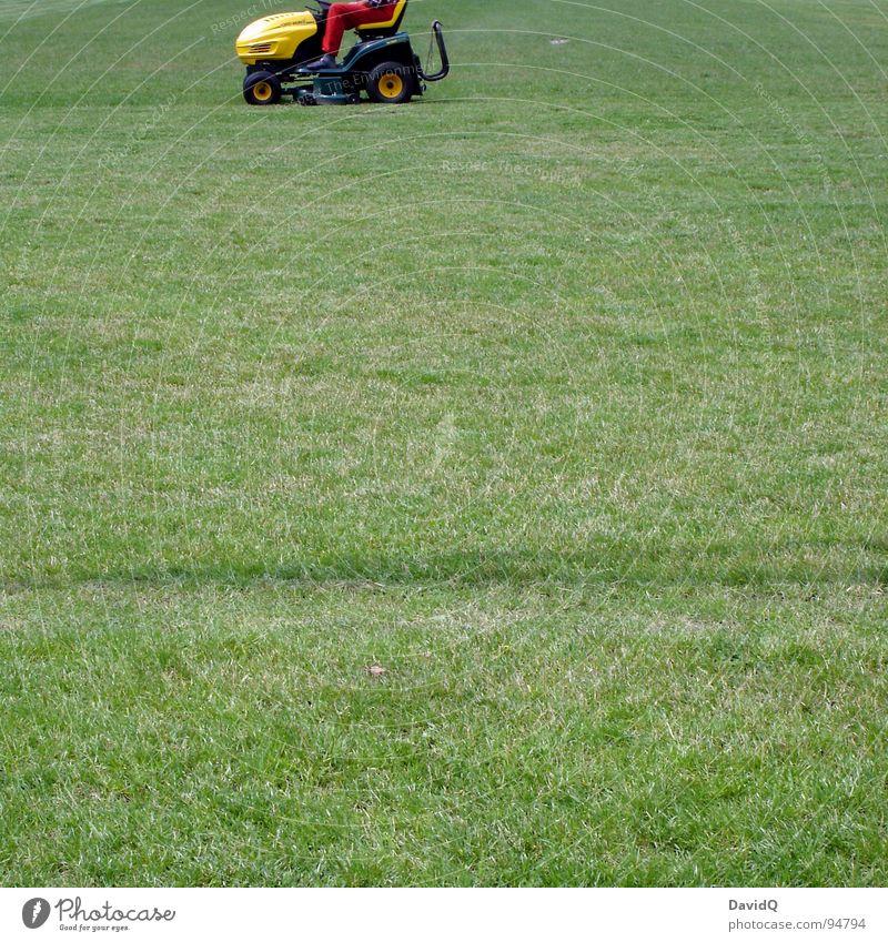 Rasenfriseur grün rot gelb Wiese Freizeit & Hobby Rasen Dienstleistungsgewerbe geschnitten Traktor Haarschnitt Stoppel Rasenmäher Sportplatz rasenmähen