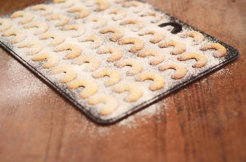 Kipferl Weihnachten & Advent Lebensmittel Ernährung süß Kochen & Garen & Backen lecker heiß Backwaren Teigwaren Plätzchen Weihnachtsgebäck Croissant Puderzucker