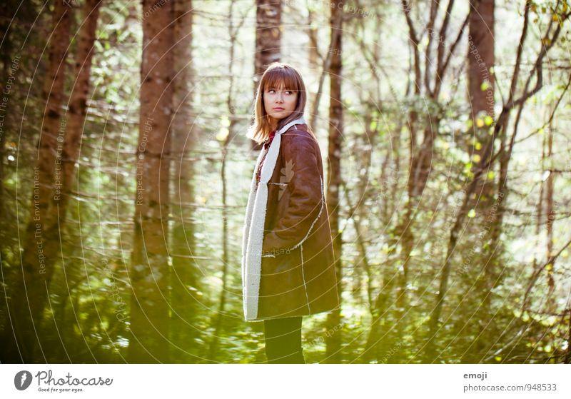 Herbstfarben feminin Junge Frau Jugendliche 1 Mensch 18-30 Jahre Erwachsene Schönes Wetter Wald schön natürlich Farbfoto Außenaufnahme Tag