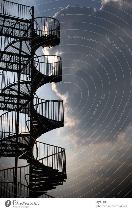 Stärweh to Häven Himmel Sommer Sonne Wolken Architektur Treppe Aussicht bedrohlich Sicherheit Geländer Stahl himmlisch aufwärts Leiter Spirale obskur