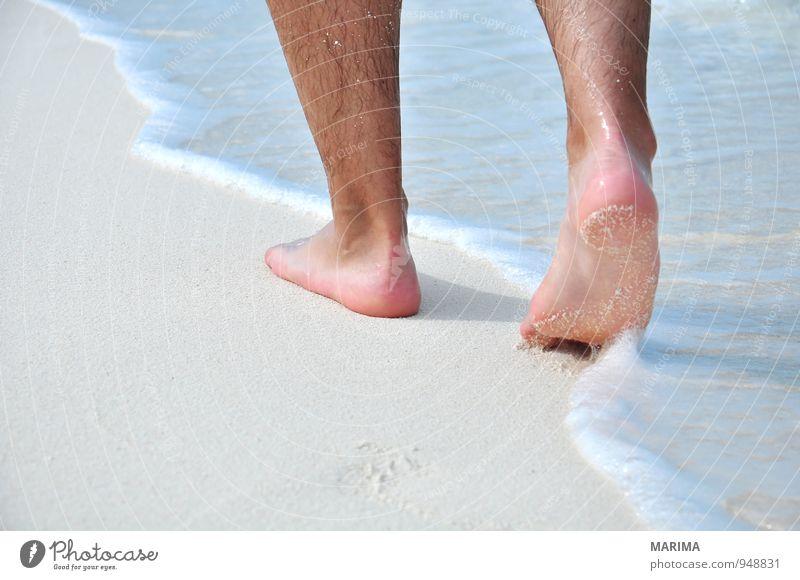 man takes a beach walk exotisch Erholung ruhig Ferien & Urlaub & Reisen Sommer Sonne Strand Meer Wellen Mensch Mann Erwachsene Natur Sand Wasser Behaarung