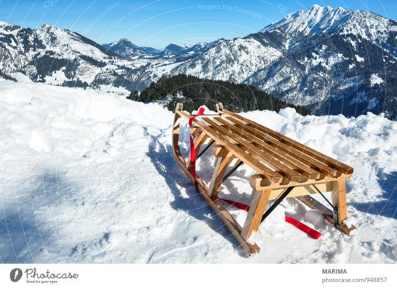 white winter land, wooden sledge Natur Ferien & Urlaub & Reisen blau weiß Sonne Erholung Landschaft Wolken Freude Winter Wald kalt Berge u. Gebirge Umwelt