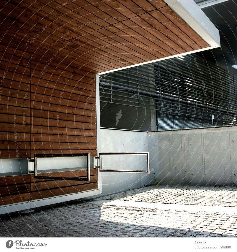 radlständer Architektur Holz Stil Metall Linie braun modern stehen Dinge einfach sehr wenige Gestell Rollo Ständer Holzmehl