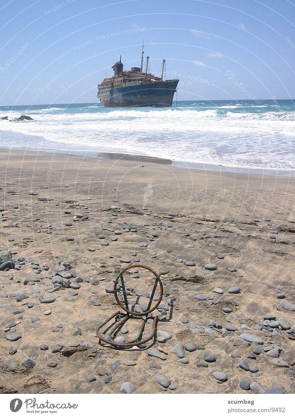 American Star Meer Strand Wasserfahrzeug Wellen Stuhl Fuerteventura gestrandet