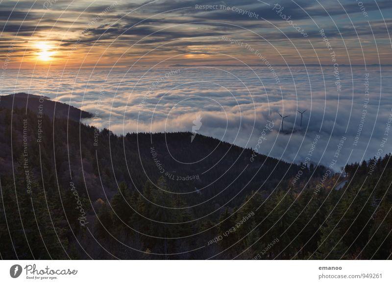 Schauinsland Inversion Himmel Natur Ferien & Urlaub & Reisen Sonne Landschaft Wolken Ferne Wald Berge u. Gebirge Herbst Freiheit Horizont Energiewirtschaft