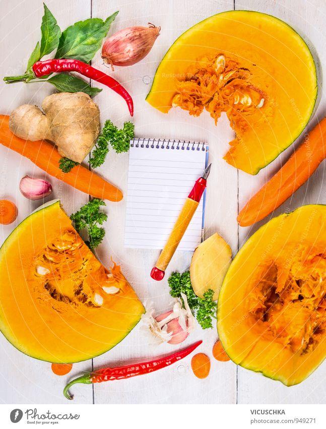 Kürbis Suppe Zutaten Rezept schreiben Sommer Gesunde Ernährung gelb Leben Hintergrundbild Lebensmittel Wohnung Freizeit & Hobby Design Kräuter & Gewürze Gemüse