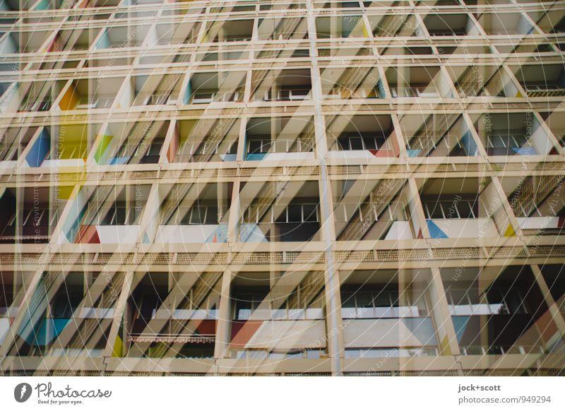 pressure house Haus Architektur Stil Gebäude außergewöhnlich Linie Fassade modern Perspektive groß retro Netzwerk Platzangst Sehenswürdigkeit Reichtum eckig