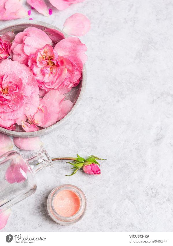 Roses in grauem Schüssel mit Wasser und Creme Natur Pflanze schön Blume Gesicht Leben Stil Hintergrundbild Mode rosa Design Haut Wellness Wohlgefühl