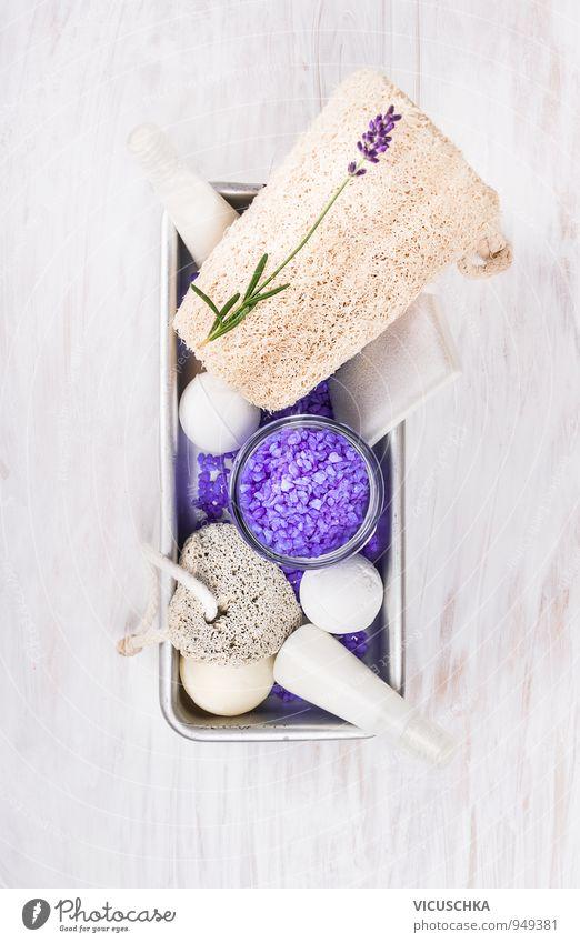 Bad Set mit Lavendel in Metallbox Natur Ferien & Urlaub & Reisen schön Erholung Blume Stil Wohnung Freizeit & Hobby Körper Design Badewanne Wellness Wohlgefühl